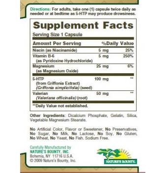 Nаturе's Воuntу 5-НТР 100 mg 60 кaпcyли