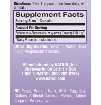 Natrol Echinacea 410 mg 90 капсули