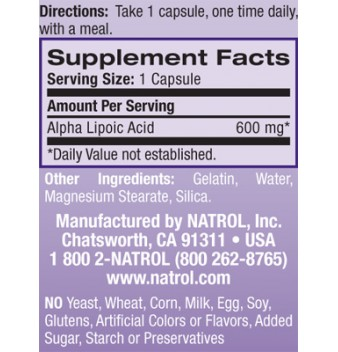 Natrol Alpha Lipoic Acid 45 таблетки