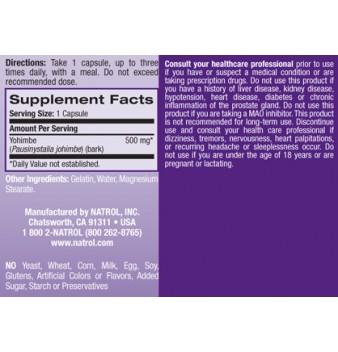 Natrol Yohimbe Bark 500 mg 135 капсули