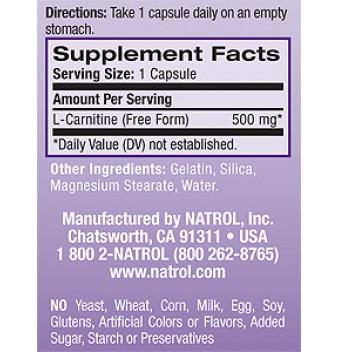 Natrol L-Carnitine 30 таблетки