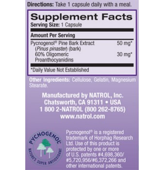 Natrol Pycnogenol 50 mg 30 капсули