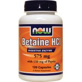 NOW Betaine HCl 120 капсули
