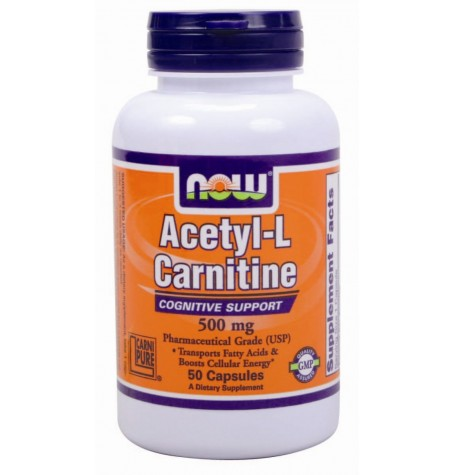 NOW Acetyl L-Carnitine 500 mg 50 капсули